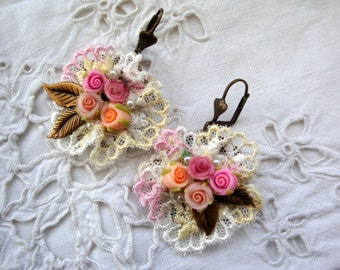 vintage shabby earrings lace and porcelain flower