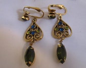 Vintage Dangle Style Clip On Earrings with Olive Green, Royal Blue and Light Green Rhinestones