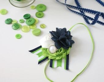 Flotsom and Jetsom- navy lime nautical rosette and burlap inspired bow headband