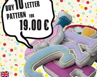 Special Deal -  Buy 10 crochet letter pattern, PDF in English, Deutsch