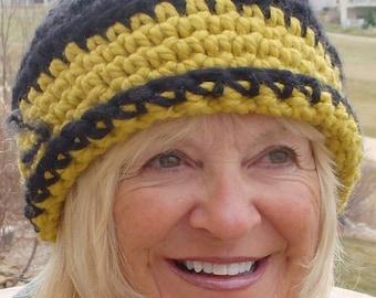 Women's fashion crochet team hat black yellow accessories women's winter hat
