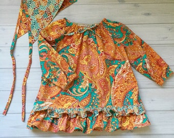 Girls peasant blouse and headscarf paisley top gold rust aqua baby shirt