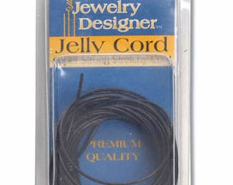 Jelly cord, black, #8, 3 yards - #1696