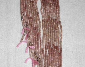 Opal, Peruvian Opal, Pink Peruvian Opal, Faceted Rondelle, Pink Opal Rondelle, Natural Stone, Semi Precious, Strand, 3mm, Adrianas Beads