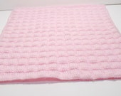 RESERVED  Pink Doll Blanket, Hand Knitted Doll Blanket, 18 Inch Doll Blanket, Photo Accessory