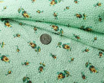 Vintage 1930 Green Plisse Fabric - Tiny Yellow Rose Buds Material