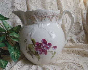 Grapes White Porcelain Beverage Pitcher Vintage at Quilted Nest