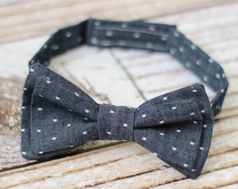 Boys bow tie - bowtie - youth - child - adjustable strap - chambray - anchors - indigo - denim - dots - modern - pre-tied - wedding - boys