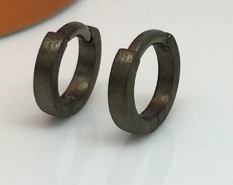 14 gauge hoop earring, charcoal grey hoop earrings, 14 gauge cartilage, 14 gauge conch, men's hoop earrings, gauged hoop earrings, E130 14G