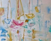 The Smell of the Sea- Original Painting- 11x15- Abstract Sailboats