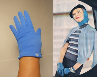 Entering the Garden Party - Vintage 1950s Cerulean Blue Nylon Wristlet Gloves - 6/6.5