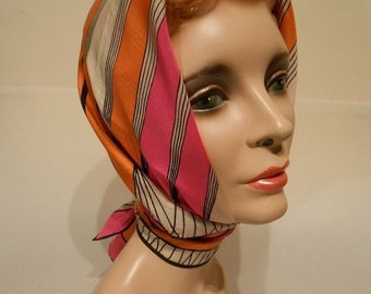 50% OFF CLEARANCE Bold As Brass - 1950s Vera Silk Scarf in Bold and Bright Hot Pink Tangerine Stripes