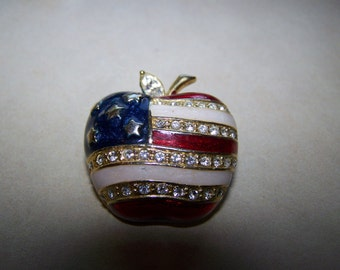 Large Enamel Rhinestone American Flag Apple Brooch Signed