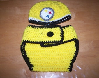 Pittsburgh Steelers Hat Diaper Cover Set Photography Prop