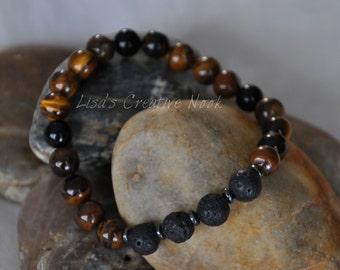 Essential Oil Diffuser Bracelet with Tiger Eye Gemstones and Diffusing Lava Beads for Men, Women or Children, Diffuser Bracelet, Nat