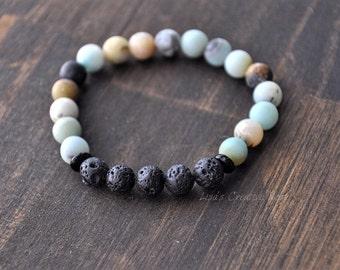 Essential Oil Diffuser Bracelet with Amazonite Natural Stones -Stretch Essential Oil Diffusing Lava Bead Bracelet