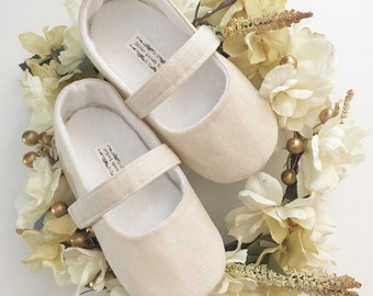 Linen Collection - Toddler Girl Shoes Baby Girl Shoes Soft Soled Shoes Wedding Shoes Flower Girl Shoes Baptism Shoes Vintage Shoes Tan linen