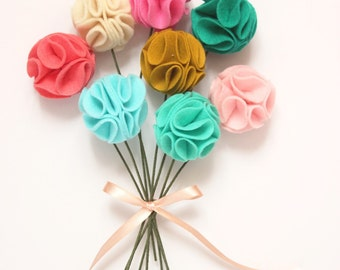 Custom felt pom pom flowers (choose your own colors/list at checkout)
