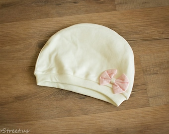 Baby Girl Take Home Hat, Ivory and Pink Hat, Newborn Cotton Hat, Off White Newborn Hat, Baby Girl Hat, RTS