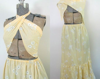 Yellow Floral Gingham Prairie Skirt Set Two Piece Maxi Matching Scarf Top Boho Festival Fashionista