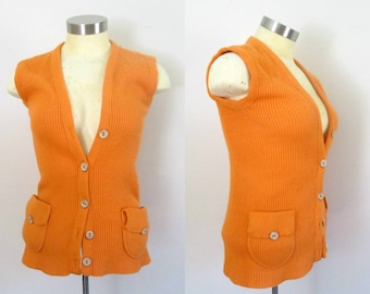 Safari Sweater Vest Orange Knit Button Front Vintage 1970s Mod Preppy