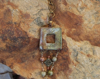 Earthy Square Pendant Necklace