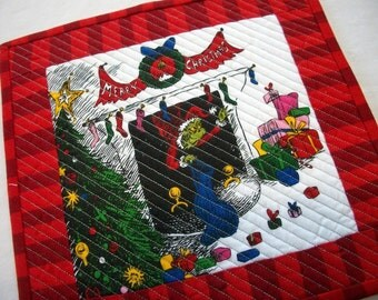 Grinch Snack Mat Dr. Seuss Christmas Quilted Mug Rug Quiltsy Handmade FREE U.S. Shipping