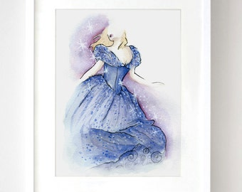 Princess Cinderella Movie Disney Watercolor - Fine Art Sketch Print