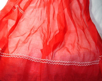 1950s Crisp Starched Red Apron with white Machine Embroidered Stitching.