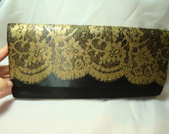 1996 Black Satin with Gold Lace Clutch.