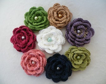 Crochet flower rose brooch with pin, choice of colors, made to order.  Free Shipping in the U.S.