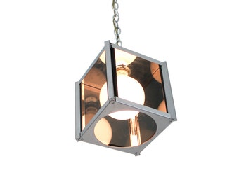 Architectural Chrome and Glass Pendant Cube Light Fixture Fredrick Ramond