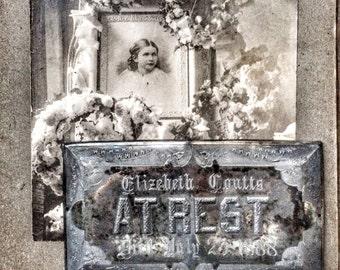 Coffin Plate Casket Plaque Vintage Funeral Silver At Rest Memento Mori
