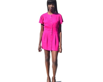 Hot pink raw silk button front minidress1990s 90s VINTAGE