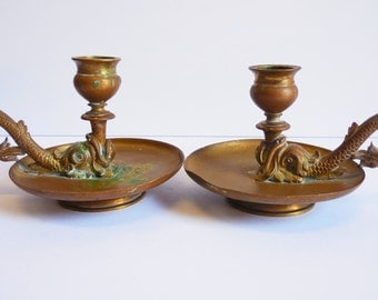 Two Koi Fish candlestick holders brass candle holders Chamberstick aged metal pair