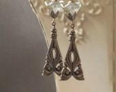 Art Nouveau Earrings - Alphonse Mucha - Dainty Earrings - Downton Abbey - Assemblage Earrings - Gift for Her - Womens Jewelry