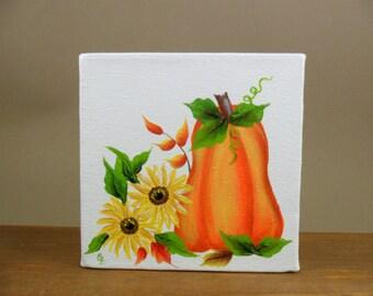 "Pumpkin Canvas Painting Acrylic Original 4"" x 4"" x 1 1/2"" Unframed"