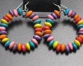 Rainbow Wood Hoop Earrings