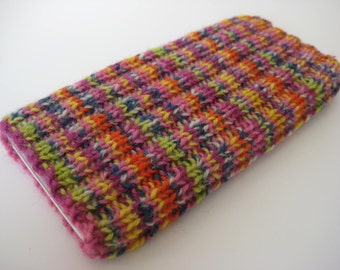 iPhone 5 sock - iPhone 5/SE wool cosy - mobile phone sock - gift for girls - hand knitted phone sock - cellphone sock - smartphone sock