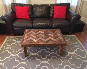 Coffee Table, Reclaimed Wood, Herring Bone Chevron Pattern Ready to ship!