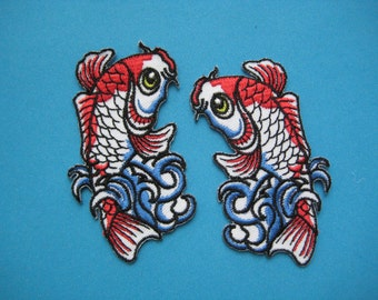 SALE~ 2 pcs Iron-on embroidered Patch Pair of Carp Fish 3 inch