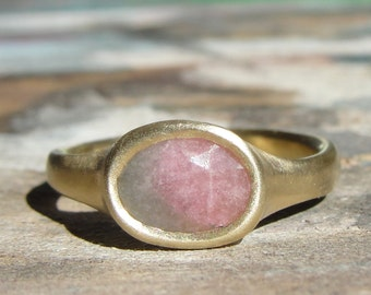 Tourmaline Ring  - Watermelon Tourmaline Ring - Solitaire Ring - Gold Statement Ring - one of a kind