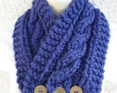Cabled Buttoned Neck Warmer in Denim, Cobalt Blue, or Navy Blue