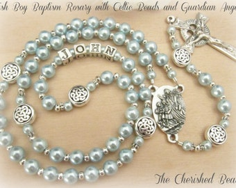 Irish Boy Personalized Baptism Rosary with Light Blue Pearls, Silver Celtic Beads and Guardian Angel