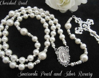 Swarovski White Pearl and Silver Rosary with Rosary Center of Choice