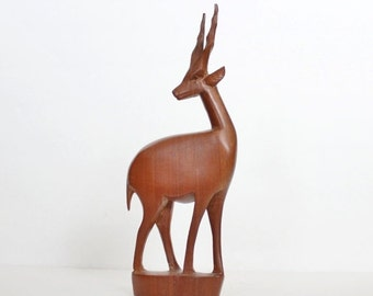 50% half off sale // Vintage 60s Hand Carved Wood Gazelle - Made in Kenya, mid century design