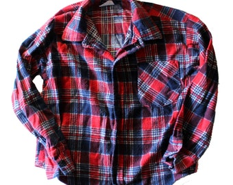 Vintage 80s Red and Blue Plaid Flannel Shirt // American Edition // Boys Size Small, made in the USA