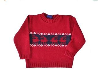 30% off sale // Vintage 90s Nordic Reindeer Ugly Christmas Sweater - Kids 4 - Childrens