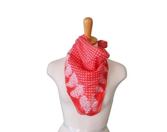 BLOWOUT 40% off sale Vintage 50s Fashion Scarf  - Red and White Polkadot Bow Pattern - Rayon Blend