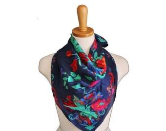 BLOWOUT 40% off sale Vintage 70s Vibrant Silk Scarf - Blue Floral Pattern - Painted Flowers